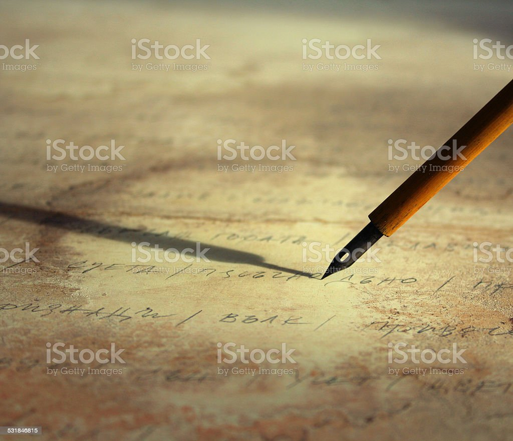 pen and letter stock photo