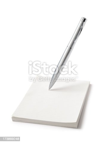 Silver pen writing on blank note. Find more in