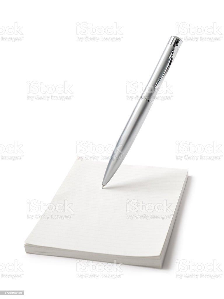Bolígrafo y Bloc de notas Aislado en blanco - foto de stock