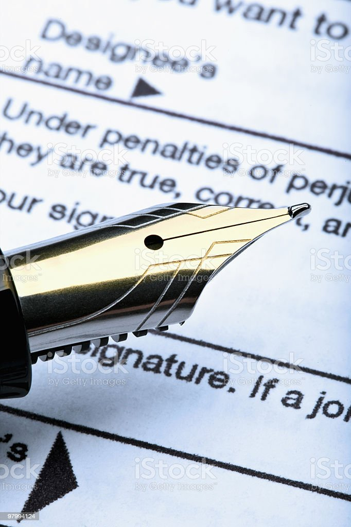 pen and tax form royalty-free stock photo