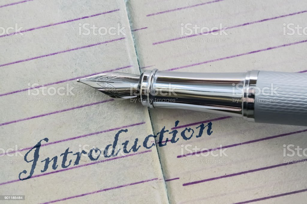 Pen and word Introduction stock photo
