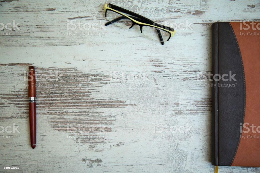 Pen business notebook. stock photo