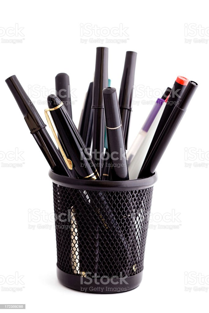 pen cup isolated royalty-free stock photo