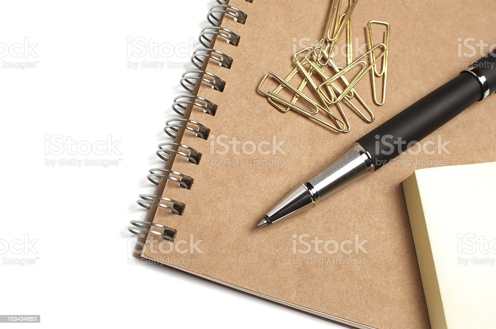 Pen, memo pad and clips royalty-free stock photo