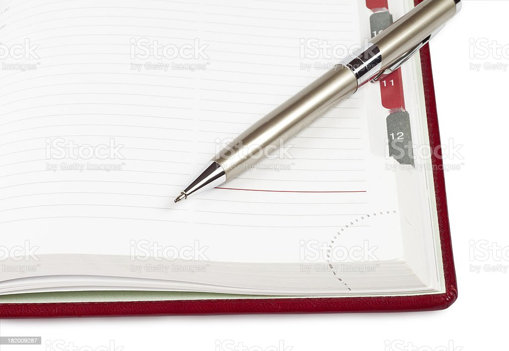 Pen on a diary royalty-free stock photo