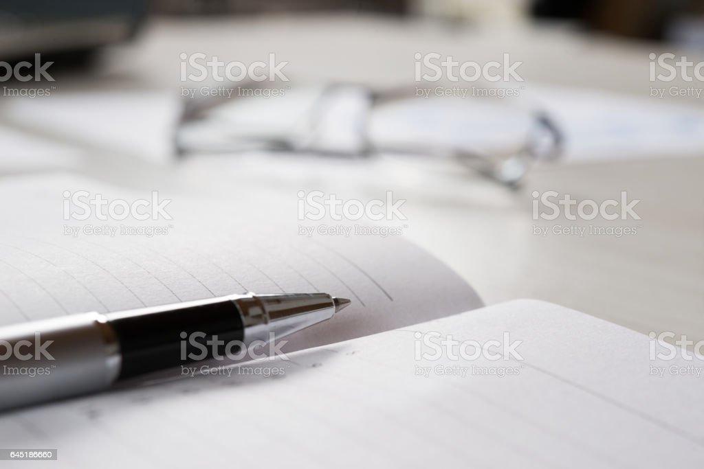 Pen on an agenda stock photo