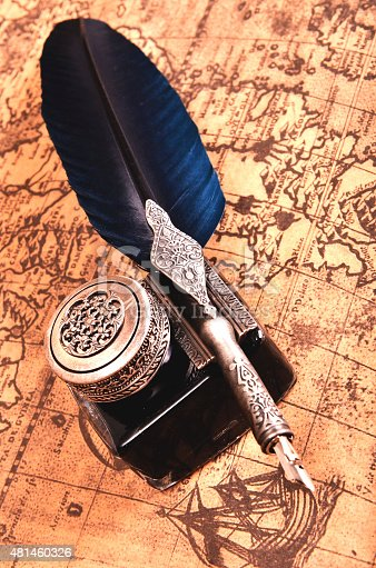 istock pen on an ancient map 481460326
