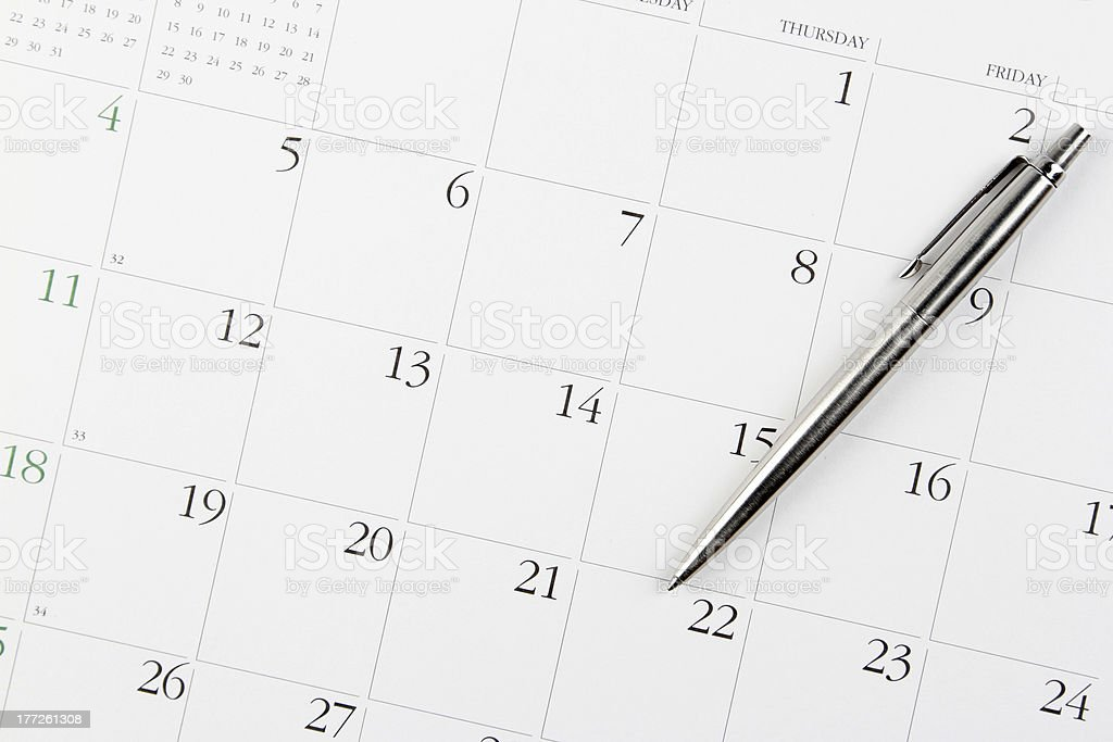 Pen on calendar royalty-free stock photo
