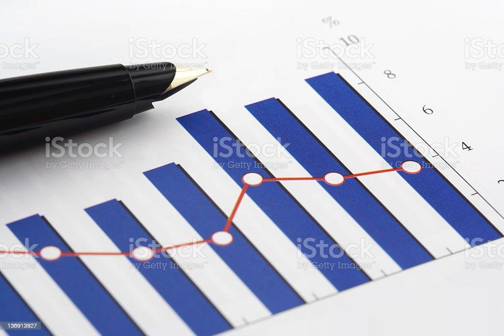 Pen on Column Graph royalty-free stock photo