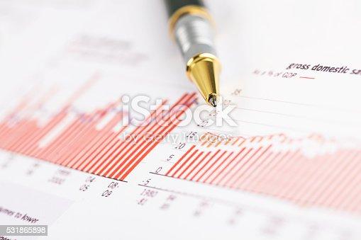 istock pen on histogram graph 531865898