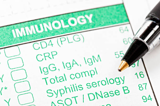 Pen on Immunology form for blood tests  treponema pallidum stock pictures, royalty-free photos & images