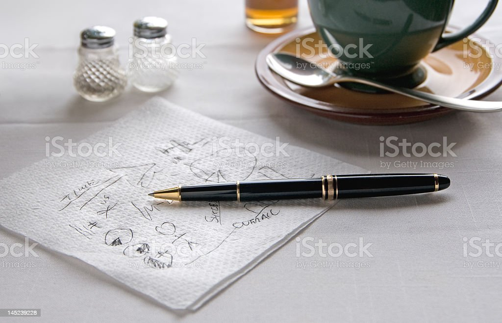 Pen on Napkin stock photo