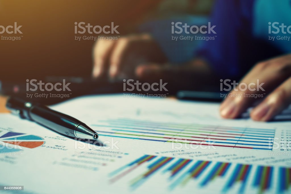 Pen on paperwork with woman calculate cost at home office. stock photo