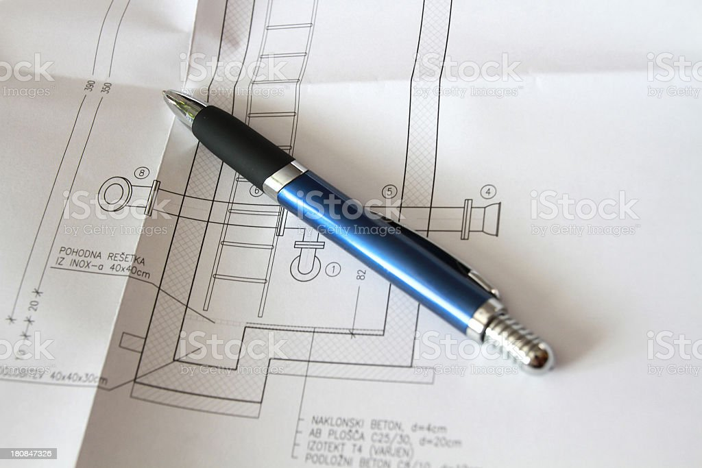 pen on plan royalty-free stock photo