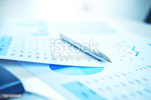 864278180istockphoto Pen on the business paper. Report chart 1021040448