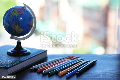 istock A pen on the desk and a small globe 907365780