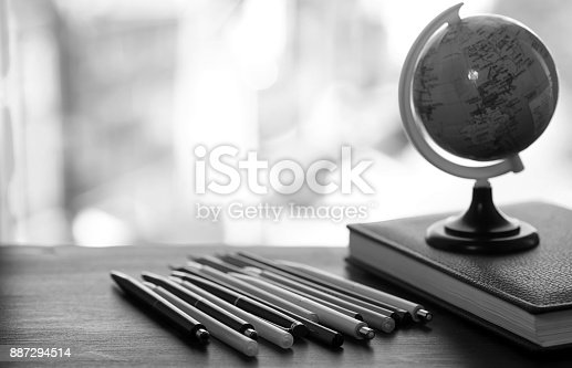 istock A pen on the desk with small globe 887294514