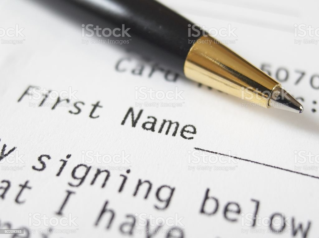 Pen on the form royalty-free stock photo