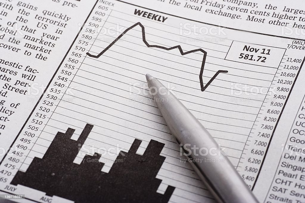 Pen Over Chart royalty-free stock photo