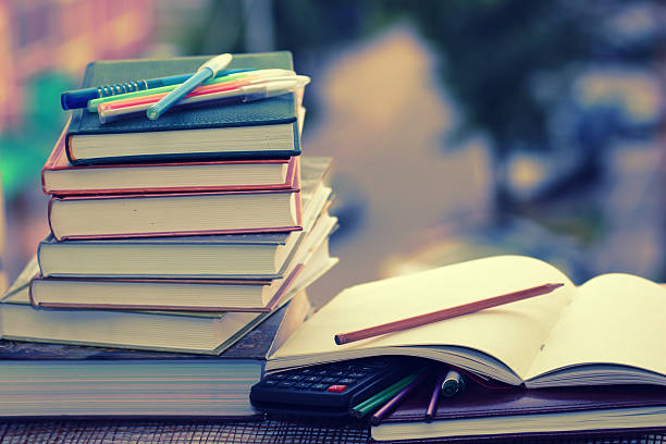 pen pencil study textbooks - textbook stock pictures, royalty-free photos & images