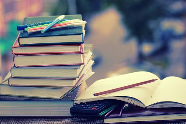 pen pencil study textbooks stock photo