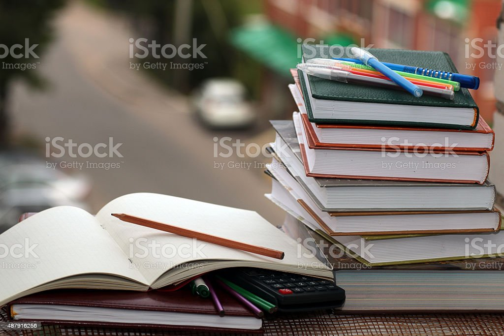 pen pencil study textbooks stock photo