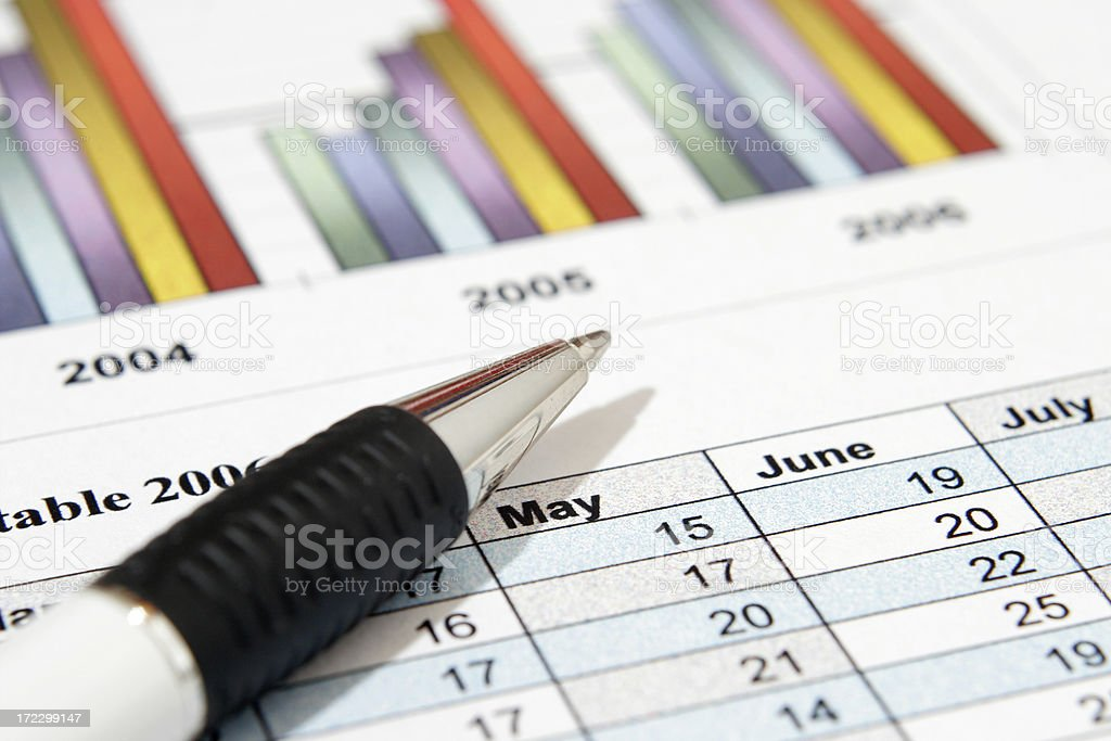 Pen Pen and graph Business Stock Photo