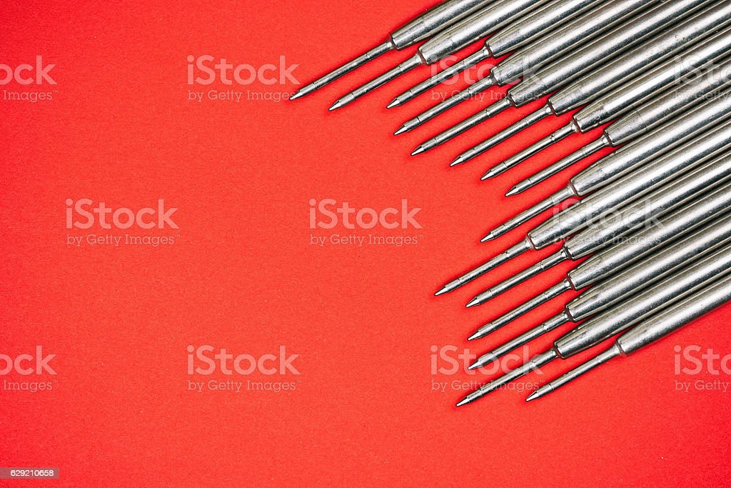 Pen refills background stock photo
