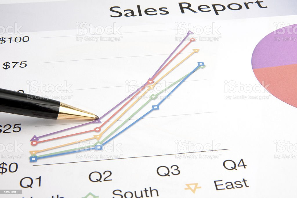 Pen Resting on a Sales Report royalty-free stock photo