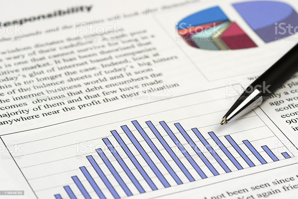 Pen resting on business document royalty-free stock photo