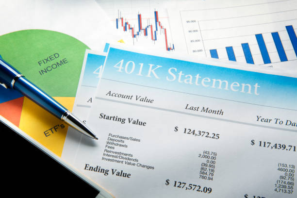 Pen Resting On Top Of 401k Retirement Statement And Pie Chart A blue ballpoint pen and a mobile phone rest on top of a 401k retirement statement and a pie chart that shows retirement account asset allocation. 401k stock pictures, royalty-free photos & images