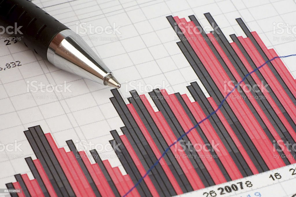 Pen showing diagram on financial report/magazine royalty free stockfoto