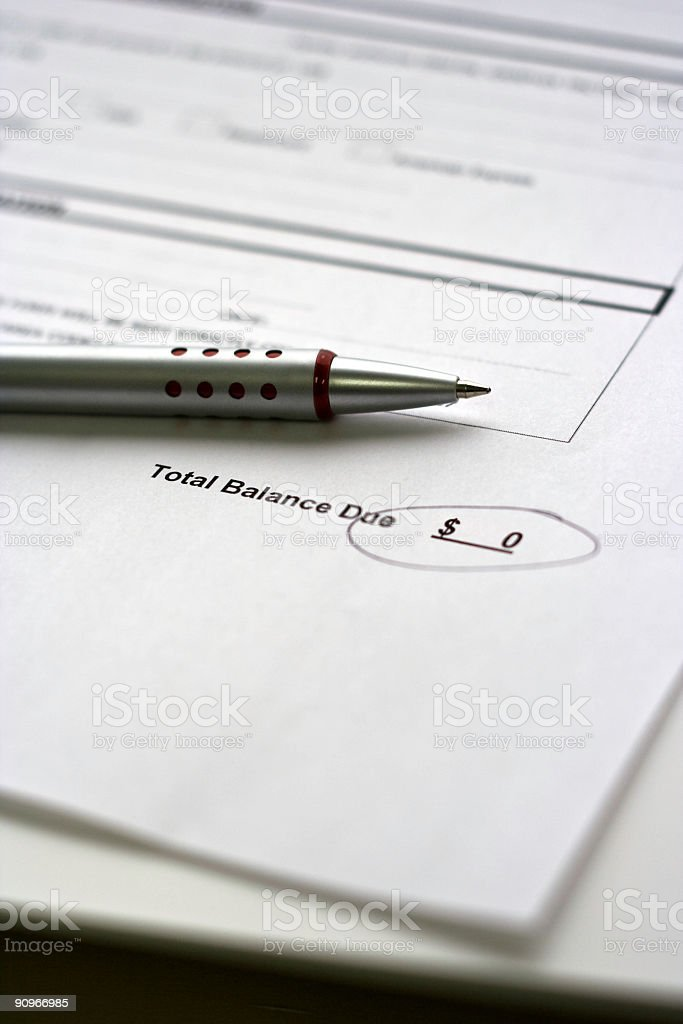 Pen Sitting on Credit Card Statement Reading Zero Balance royalty-free stock photo