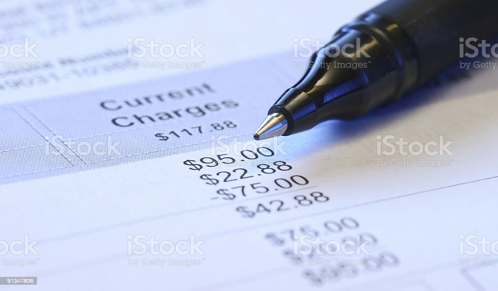 Pen sitting on statement royalty-free stock photo