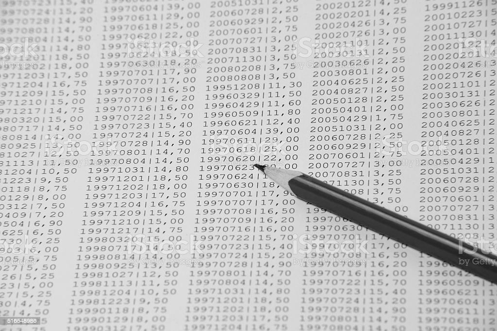 pen with numbers stock photo