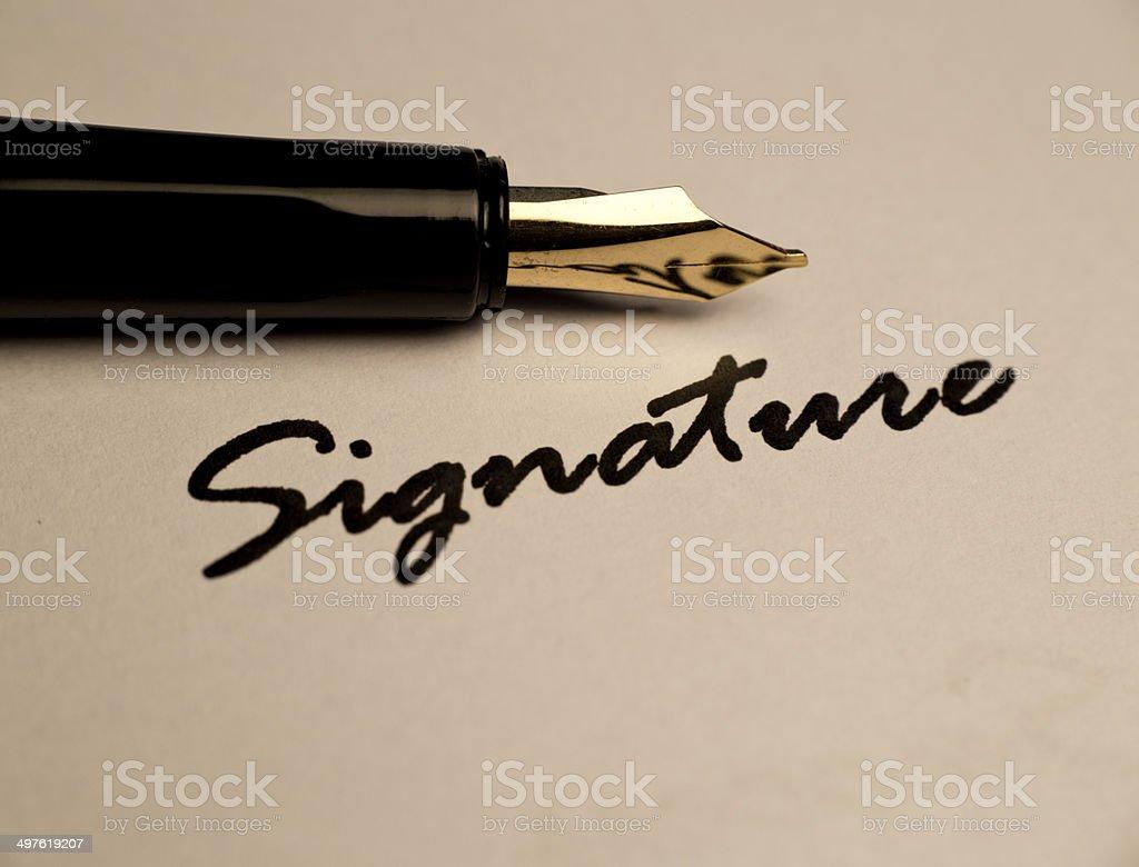 Signature - foto de acervo