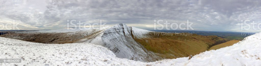 Pen y Fan and Corn Du with Winter Snow stock photo
