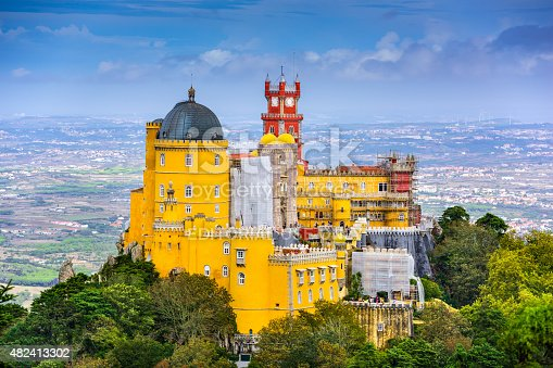 Sintra, Portugal - October 18, 2014: Sintra, Portugal at Pena National palace. The palace is a UNESCO World Heritage Site.