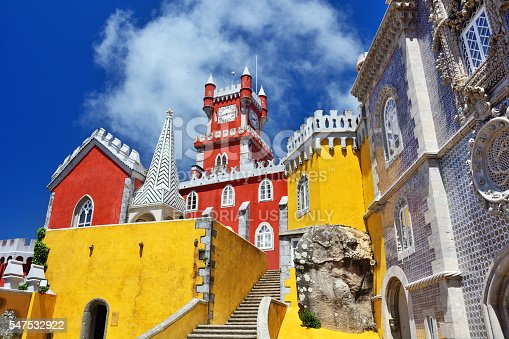 Sintra, Portugal - June 5, 2016: The Pena National Palace. The castle is a national monument and constitutes one of the major expressions of 19th-century Romanticism in the world.