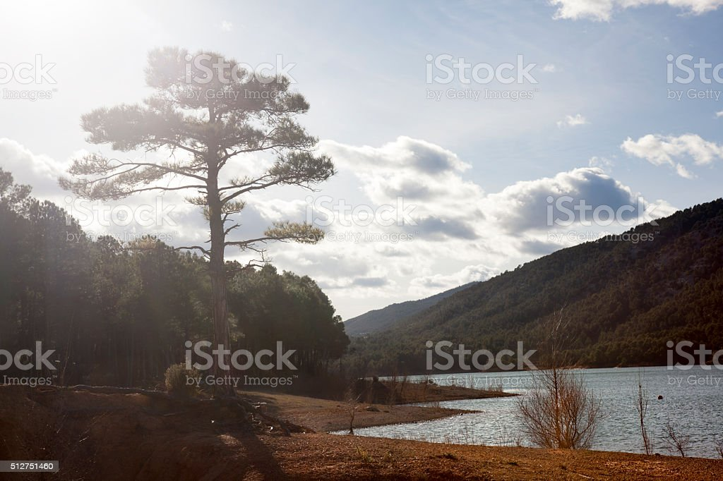 Pena Reservoir Panorama in Teruel, Spain stock photo
