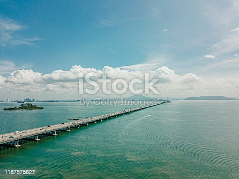 penang bridge from aerial point of view during day time