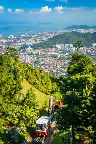 Penang funicular in Penang stock photo