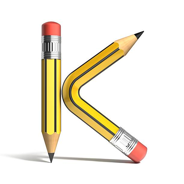 pencil 3d font letter K pencil 3d font letter K k icon stock pictures, royalty-free photos & images