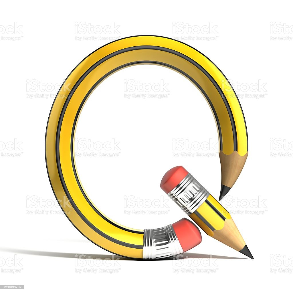 pencil 3d font letter Q stock photo
