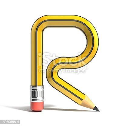 583978558istockphoto pencil 3d font letter R 526088801