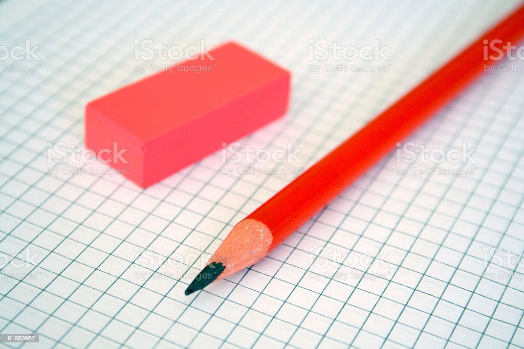 Pencil & rubber royalty-free stock photo