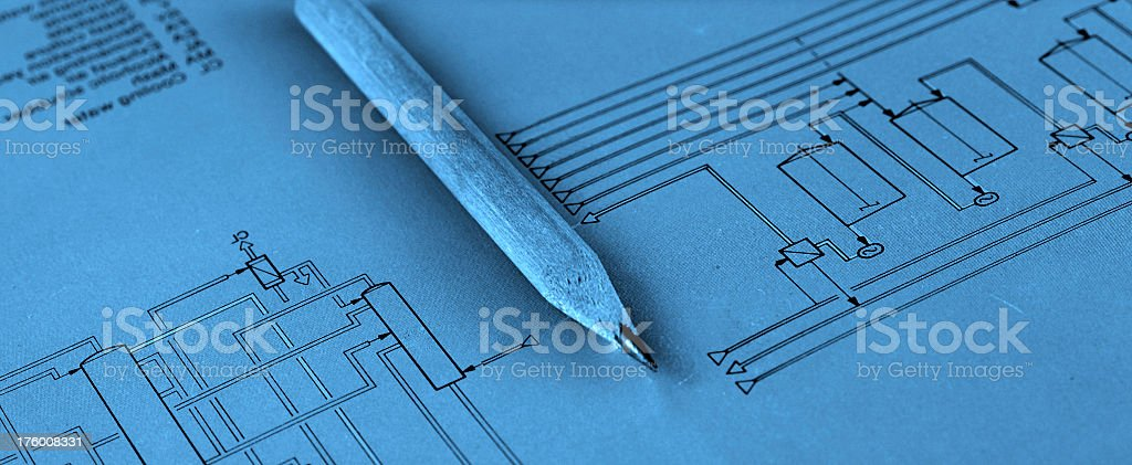 Pencil and a diagram royalty-free stock photo