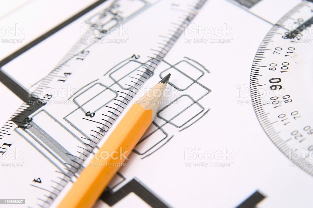 Pencil and a protractor royalty-free stock photo