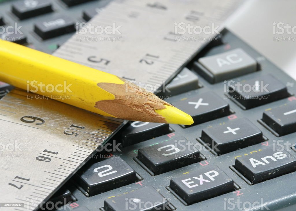 pencil and calulator royalty-free stock photo