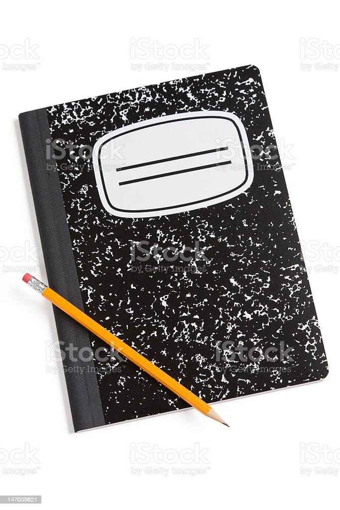 Pencil and composition book stock photo